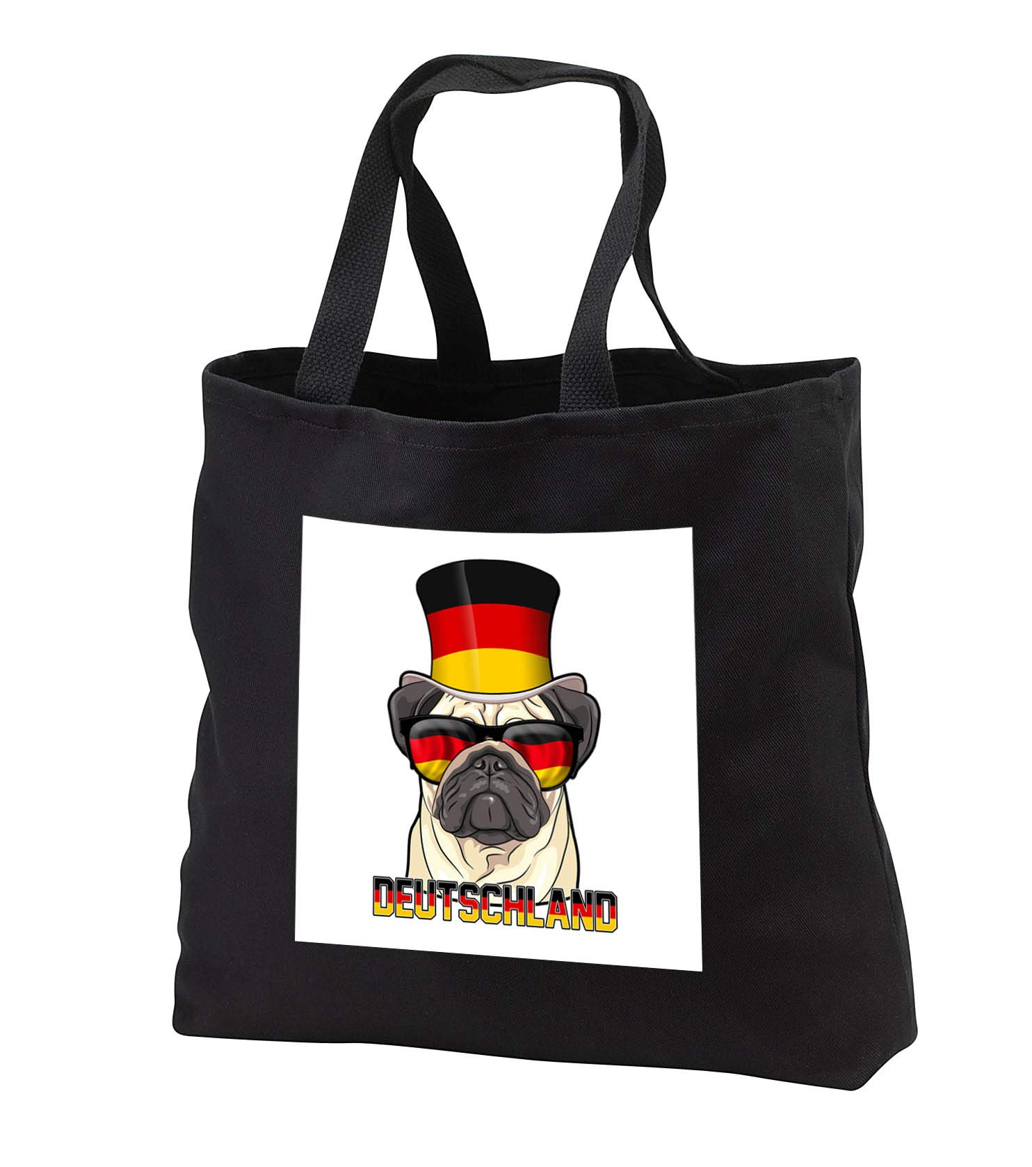 Carsten Reisinger - Illustrations - Germany Pug Dog with German Flag Top Hat and Sunglasses - Tote Bags - Black Tote Bag 14w x 14h x 3d (tb_293429_1)