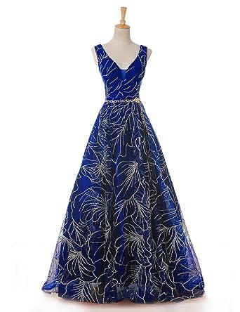 LMBRIDAL Womens Long Floral Print Prom Dress V Neck Formal Evening Gown Royal Blue 10