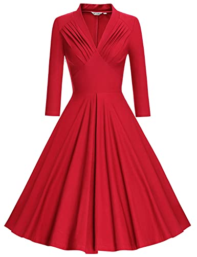 MUXXN Women's V Neck Elegant 3/4 Sleeve Vintage Bridesmaid Party Dress