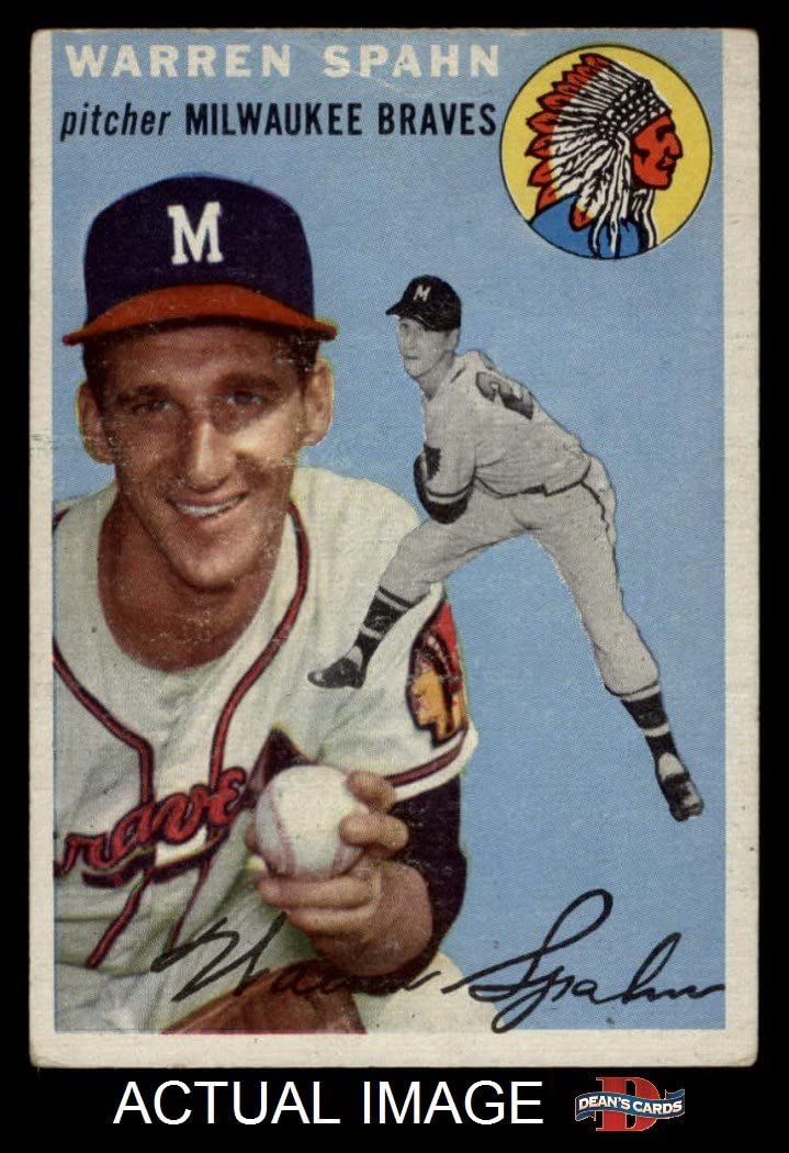 1954 Topps # 20 Wht Warren Spahn Milwaukee Braves (Baseball Card) (White Back) Dean'S Cards 3 - Vg Braves