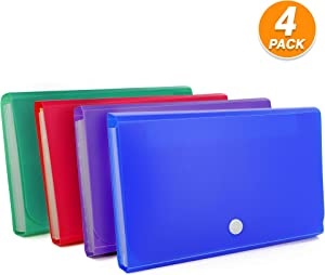 Emraw Expanding File Folder Mini Organizer Wallet for Cards 7 Pocket Assorted Colors Poly 7.1 X 4.3 Receipt and Coupon File Water Proof Document Pocket Office Desk Organizer Card Holder Pack of 4