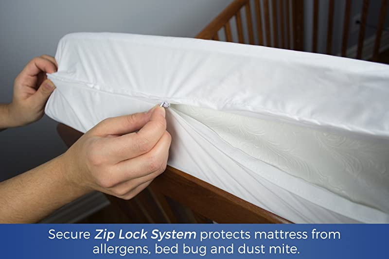 Zip&Block Waterproof Hypoallergenic Crib Mattress Protector Encasement