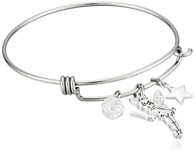 54066caea Amazon.com: Disney Stainless Steel Catch Bangle with Silver Plated ...