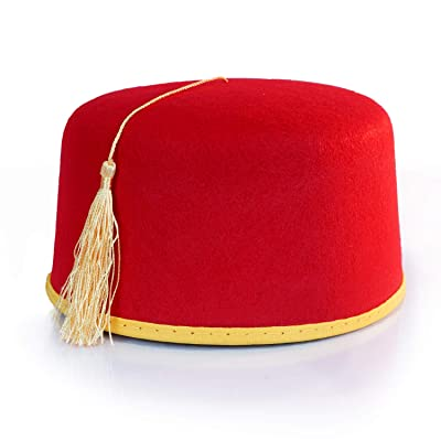 Red Fez Hat - Red with Gold Tassel & Trim - Costume Accessory: Clothing
