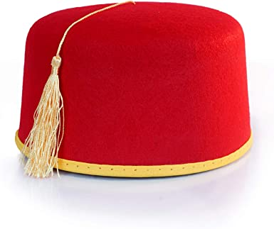 Red Fez Hat with Tassel