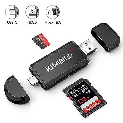 KiWiBiRD Lector Tarjeta SD/Micro SD, USB Tipo C Adaptador Micro USB OTG y Lector de Tarjetas de Memoria USB 2.0 para Tarjetas SDXC, SDHC, SD, MMC, ...