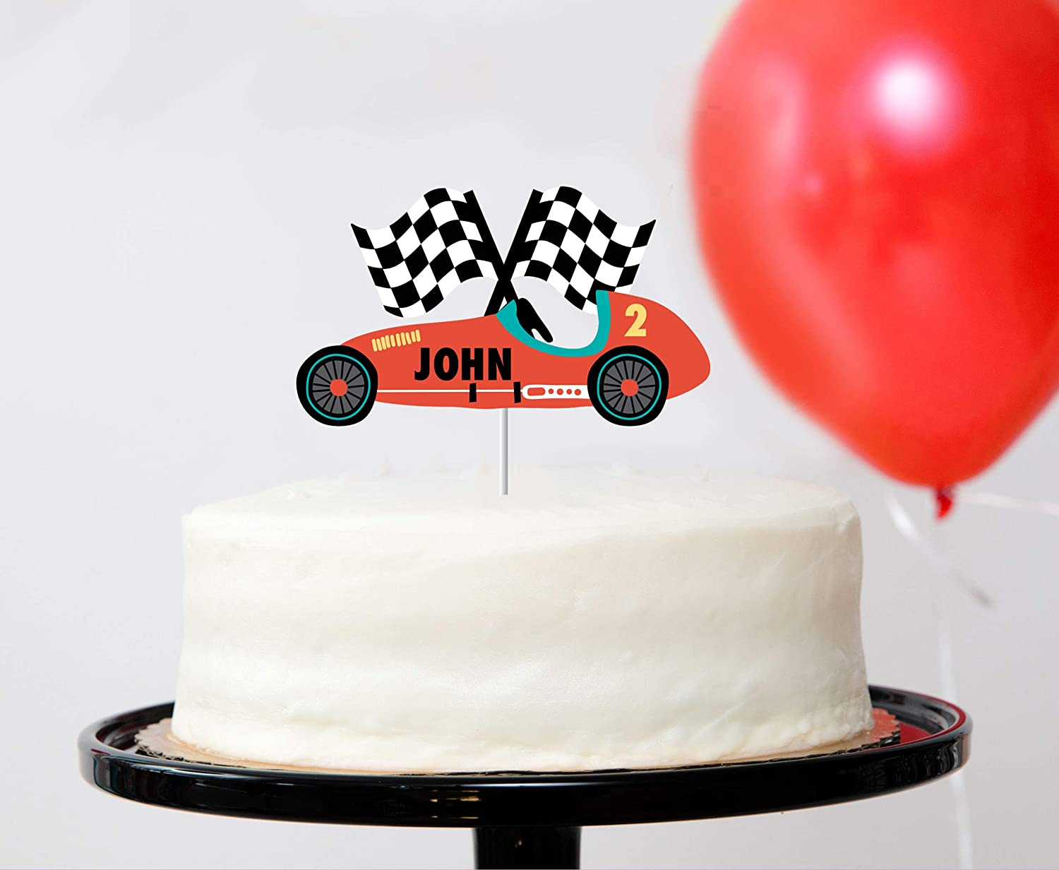 Outstanding Amazon Com Vintage Race Car Custom Name Cake Topper Race Car Funny Birthday Cards Online Elaedamsfinfo