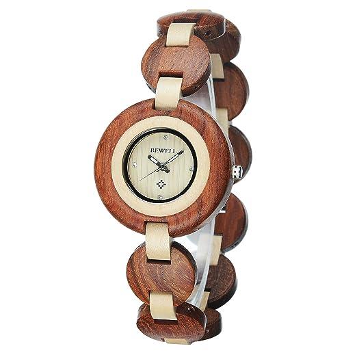 Bewell – Reloj Madera de Las Mujeres Relojes Movimiento de Cuarzo analógico, Correa de Pulsera