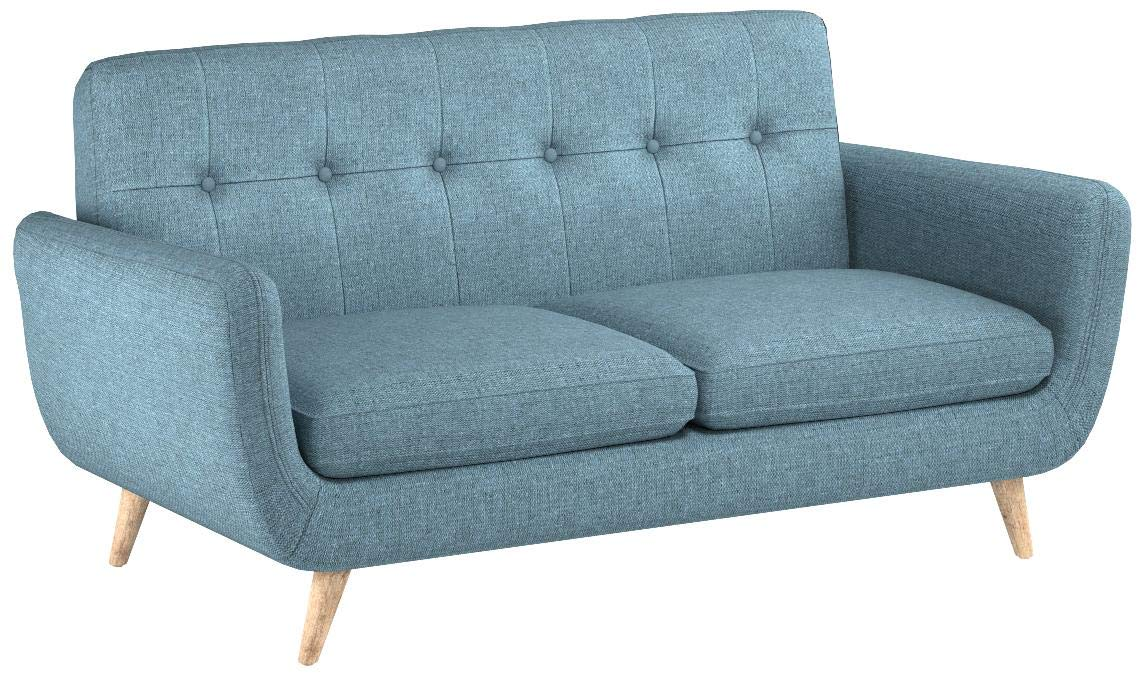Christopher Knight Home Joseline Mid Century Modern Petite Fabric Sofa, Blue/Natural by Christopher Knight Home