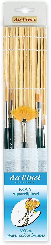 da Vinci Series 5307 5-Brush Nova Watercolor and Acrylic Set in Free Bamboo Mat with Cotton Pockets