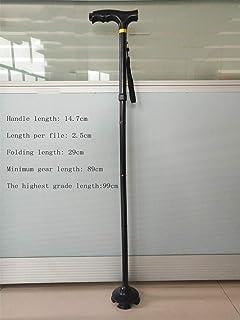 Mchoff Stampella canna multifunzione vecchio con bastone in alluminio leggero bastone telescopico nero