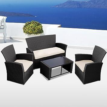 Miadomodo - Cojunto de Muebles de jardín de poliratán (4 ...