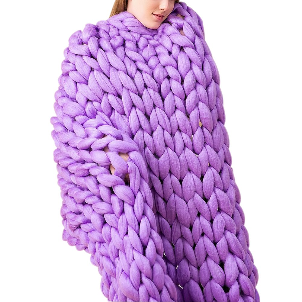Purple Chunky Merino Wool Knit Throw,Giant Chunky Throw Arm Knit Blanket,40x79in Super Chunky Blanket,Super Thick Blanket,Decor Home & Bedroom by Clisil (Image #1)