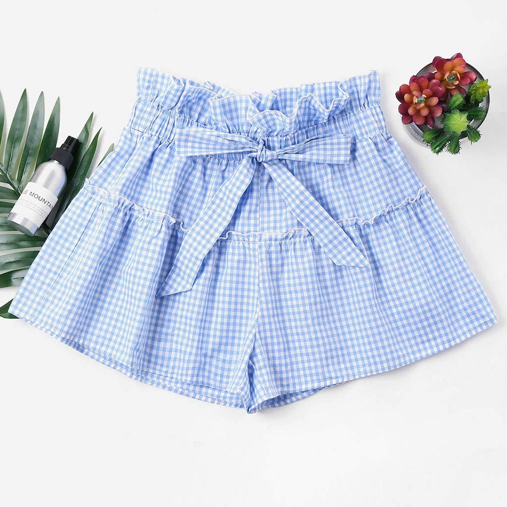 wodceeke Womens Casual Elastic Waist Ruffle Bowknot Summer Solid Color High Waist Shorts Pockets