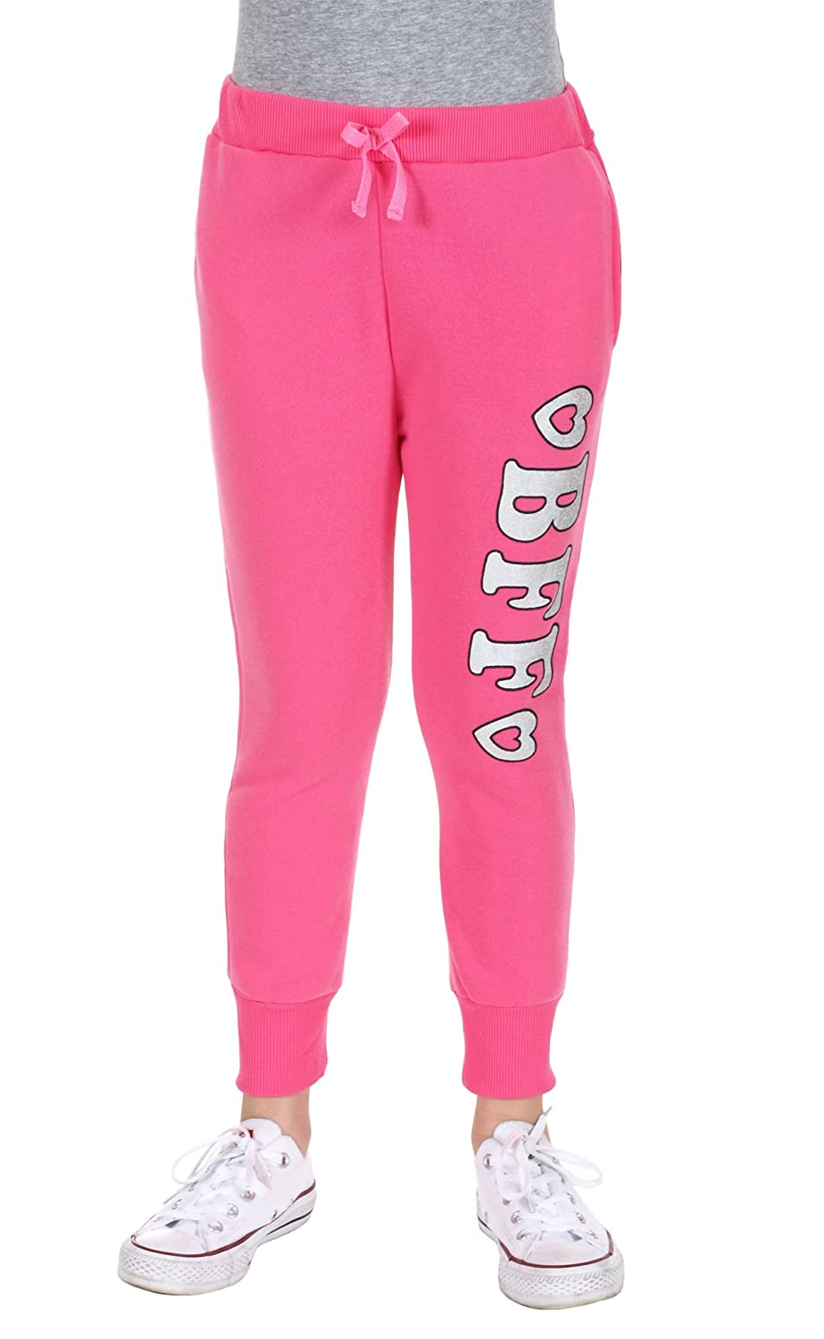 S.W.A.K... Girls Fashion Sweat Pants with BFF Fun Graphic Print - Girls Joggers Pink) 24932