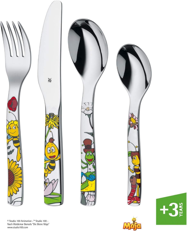 WMF La abeja Maya - Cubertería para niños 4 piezas (tenedor, cuchillo de mesa, cuchara y cuchara pequeña) (WMF Kids infantil)