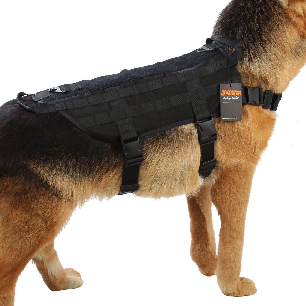 Black S Black S Excellent Elite Spanker Tactical Dog Harness Nylon Molle Patrol Military Training Dog Vest Harness Small Medium and Large Dogs(Black-S)