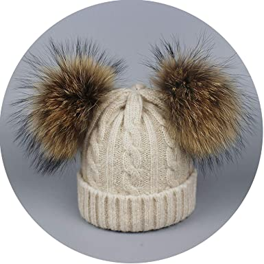 b342c66000a Amazon.com  Real Fur Winter Hat Raccoon Two Pom Pom Hat Thick Women Hat  Knitted Beanies