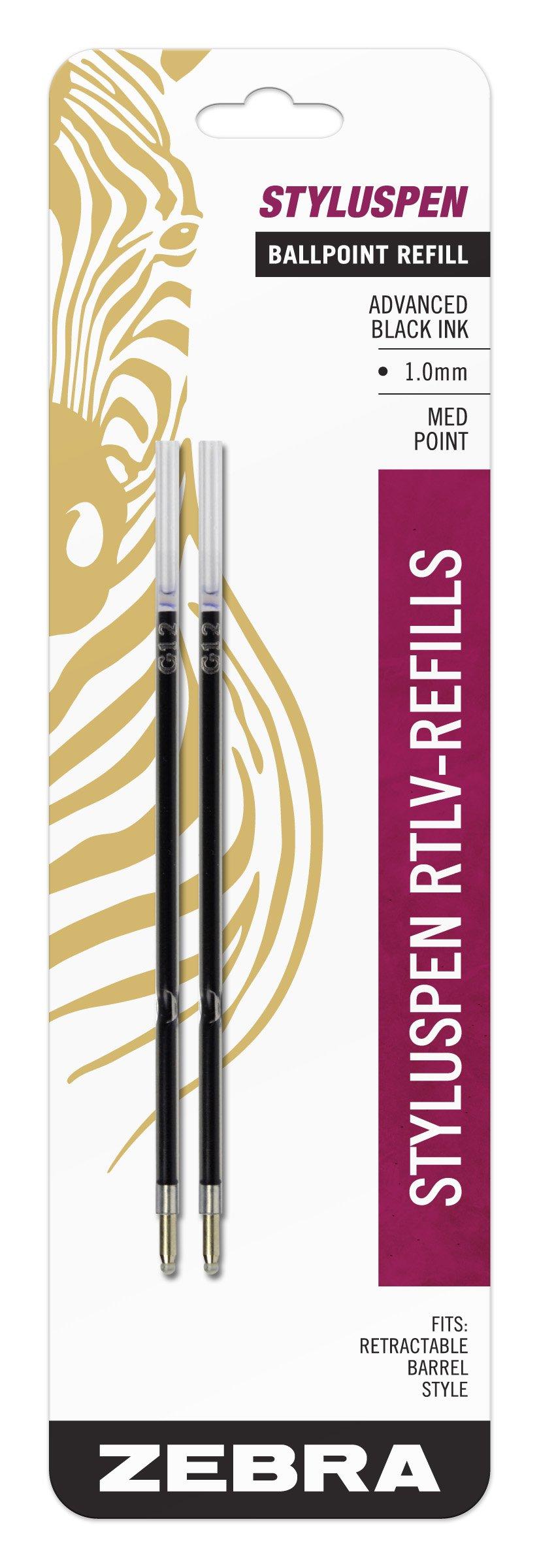 2 Repuestos de Lapiceras 1.0mm Tinta Negra Marca Zebra