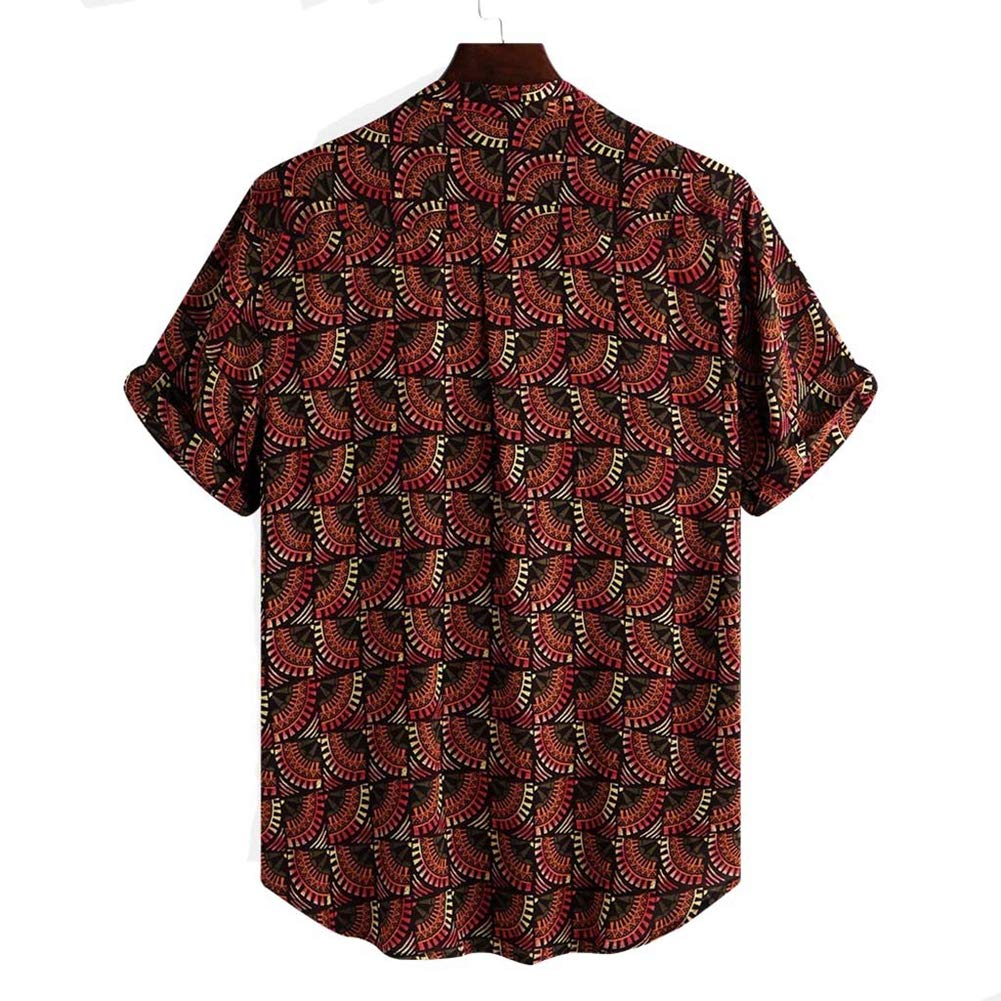 Red,M Mens Hawaiian Printed Shirt Blouse Shirt Men Retro Short Sleeve Casual Shirt