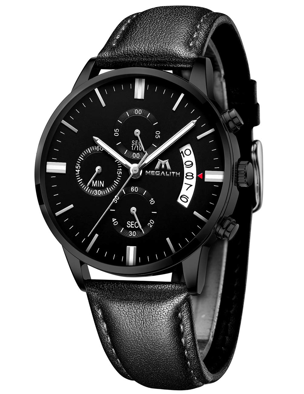 MEGALITH Mens Watches Chronograph Thin Watches for Men Waterproof Sports Analogue Watch Luminous Date Leather Mens Wrist Watches Business Quartz