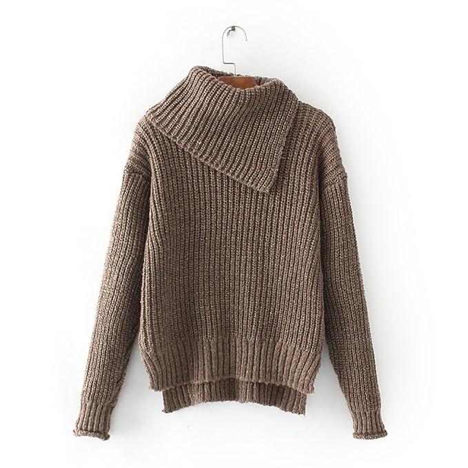 MEI&S La mujer teje holgados cuello alto Top Pullover Sweater ...
