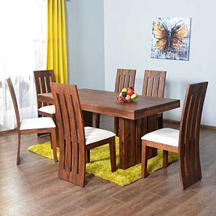 @home by Nilkamal Delmonte Six Seater Dining Table Set (Brown)