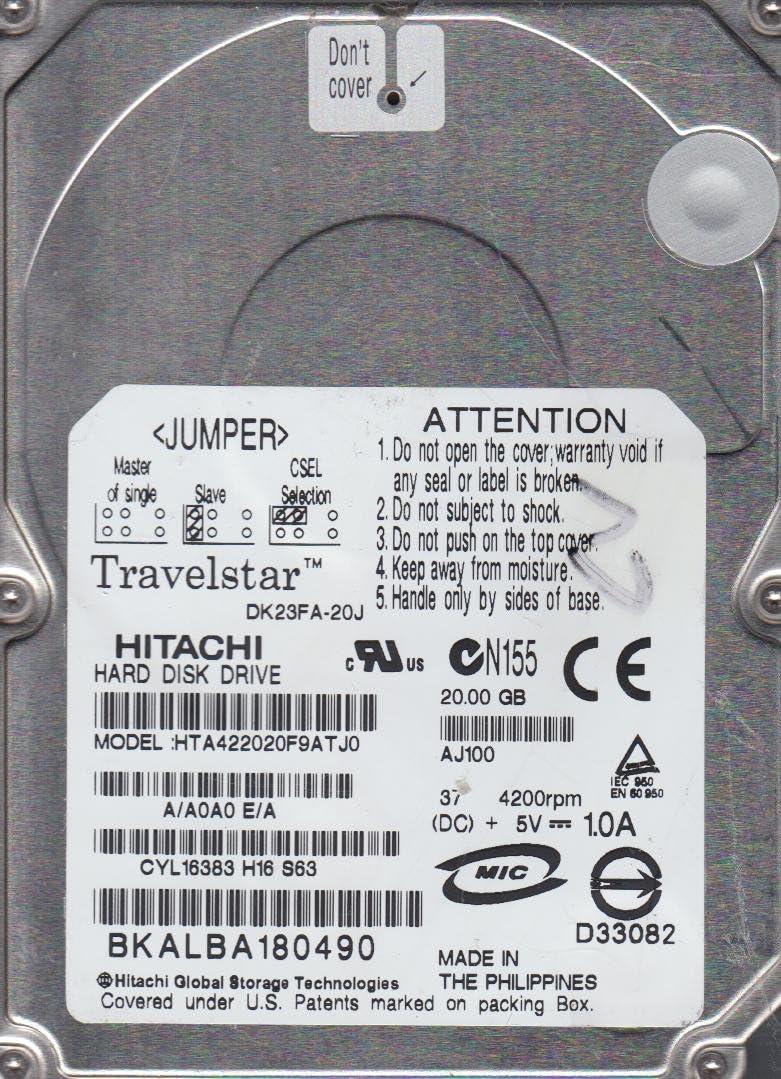 HTA422020F9ATJ0 A//A0A0E//A Hitachi 20GB IDE 2.5 Hard Drive DK23FA-20J
