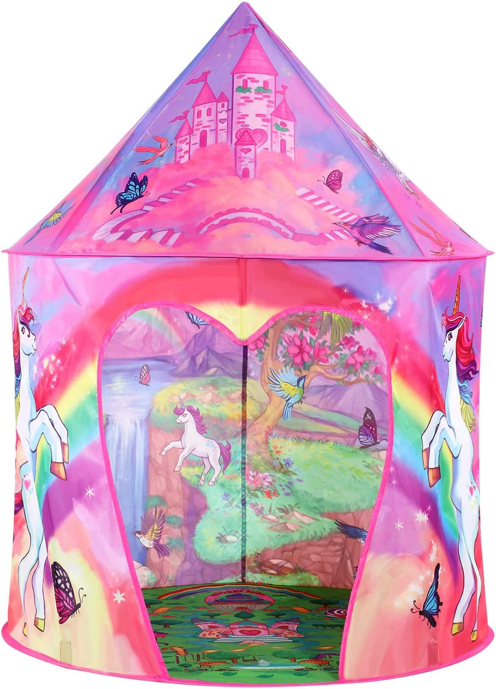 Tacobear Play Tent for Kids Girls Unicorn Princess Castle Playhouse for Indoor and Outdoor Portable Pop Up Toy Tent with Carry Bag for Girls Boys foldable Children Play Tent in Unicorn Design