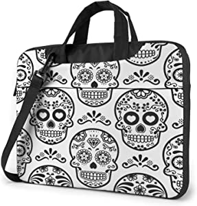 Laptop Messenger Mexican Sugar Skull White Shoulder Bag Briefcase Office Laptop Sleeve Case Luggage for Men Women 14 Inch