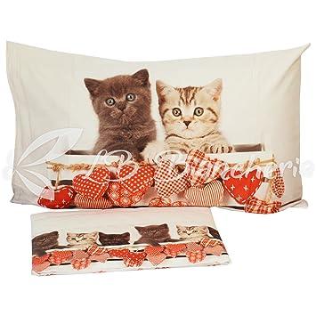 Juego completo de sábanas diseño de gatos shabby love, precioso algodón fabricado en Italia, trama tupida, estampado digital, 1 plaza, cama individual: ...