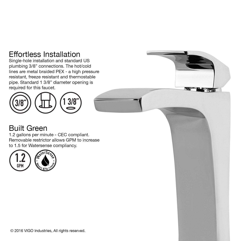 VIGO Blackstonian Single Lever Vessel Bathroom Faucet, Chrome ...