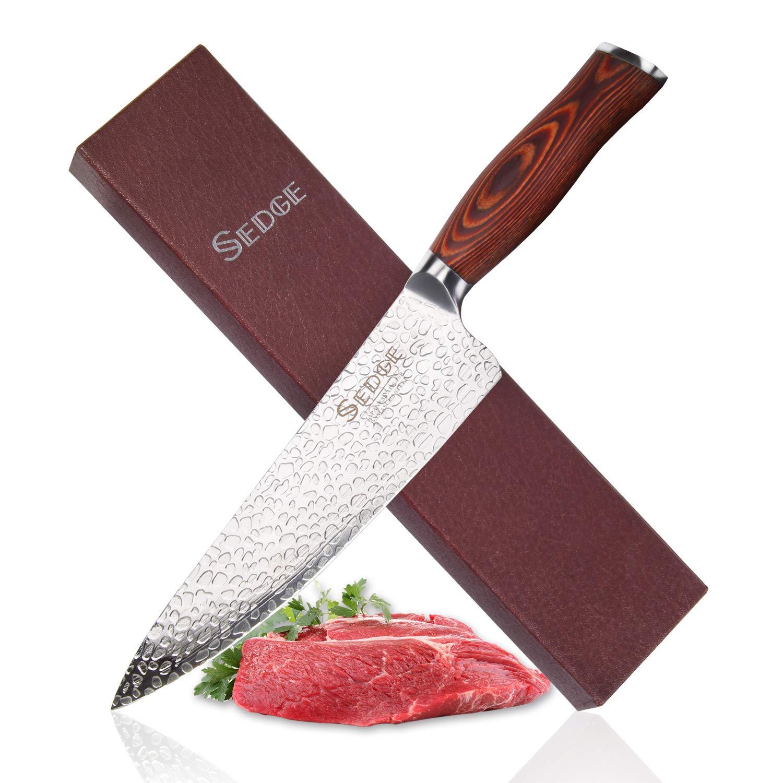 SEDGE Chefs Knife - Japanese Forged AUS-10 Damascus 67-layers Steel - STORM-X Finish - Ergonomic Pakkawood Handle - Professional Ultra-DEEP 56mm Kitchen Chef Knives Blade - 8''