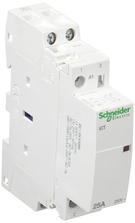 Schneider Electric A9C20132 Acti 9 iCT Conector, 25A, 2NA, 24Vca, 81mm x 18mm x 68.5mm, Blanco: Amazon.es: Industria, empresas y ciencia