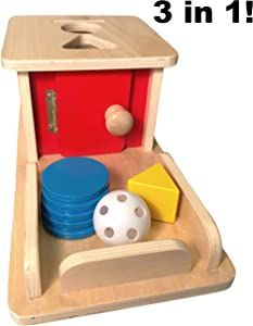 New Object Permanence Box with Tray | 3 In 1 | Patent Pending | Included Ball, Prism, & 5 Coins | Wooden Montessori Educational Learning Toy, Puzzle, & Gift for Infants, Babies, & Toddlers | Baby Toys