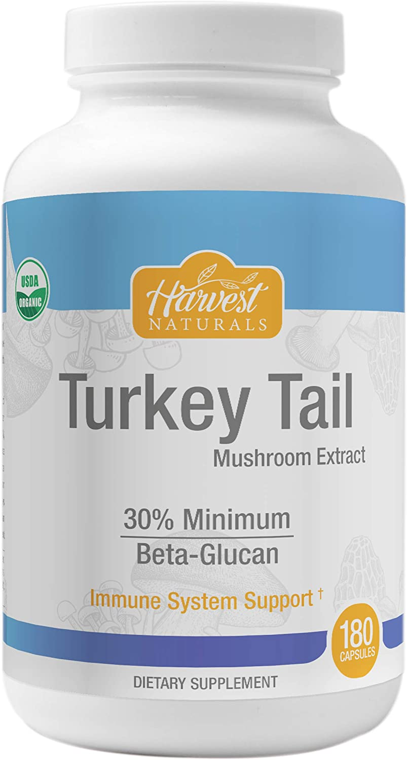 Turkey Tail Mushroom Extract Capsules - Certified Organic & 30% Min. Beta-Glucan - 180 Count - Harvest Naturals
