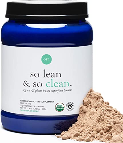 Ora Organic Vegan Protein Powder – 22g of Plant-Based Protein with Greens and Enzymes for Digestion Keto-Friendly, Paleo, Dairy-Free, Gluten-Free, Soy-Free – Chocolate Flavor, 20 Servings