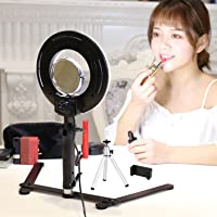 """Table Top LED Selfie Ring Light for Makeup 8-inch Dimmable 24W 5500K O Circular Beauty Lamp with Desktop Bracket+3.5"""" Mirror+Mini Tripod+Phone Clamp,for YouTube Vine Self-Portrait Video Photography"""
