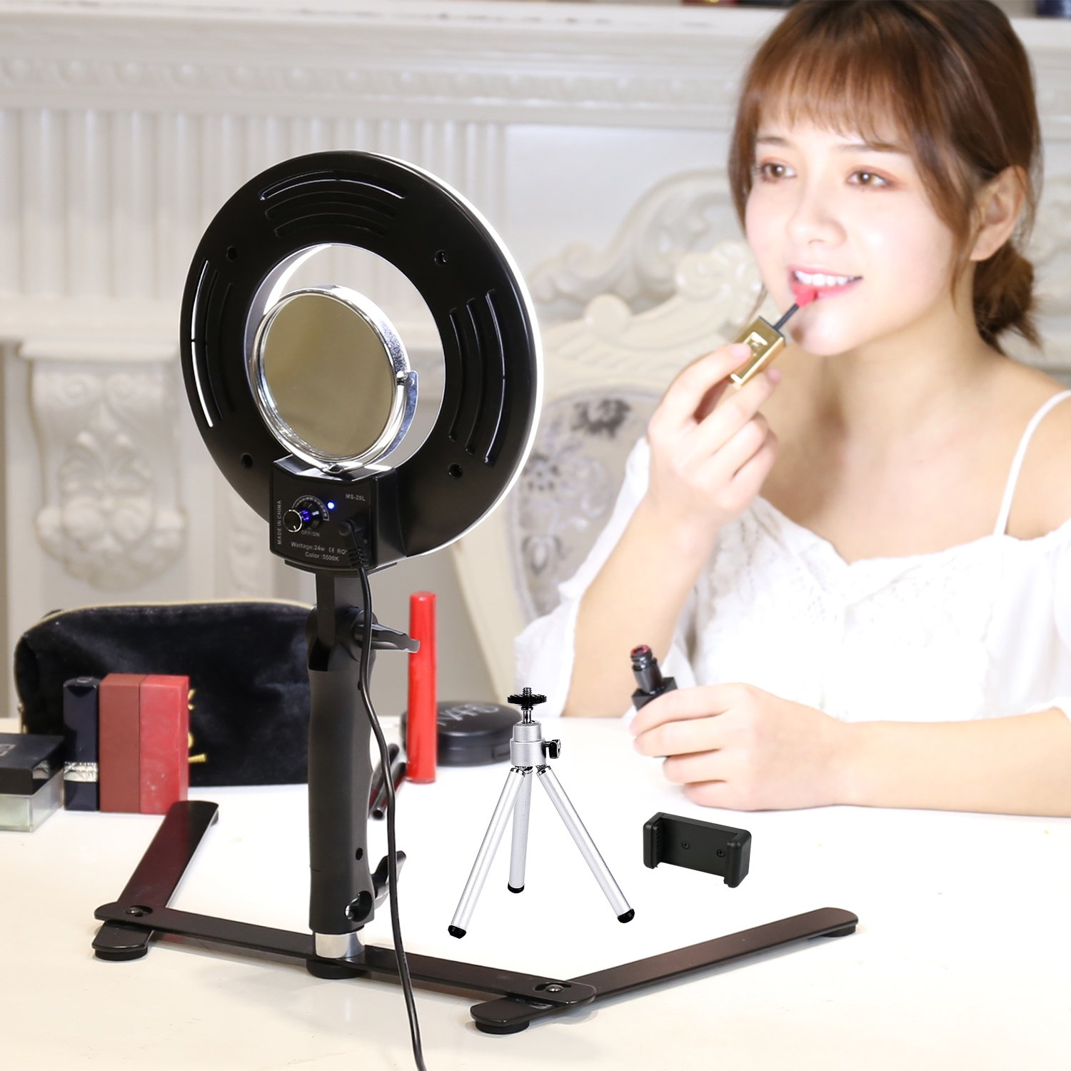 Table Top Photo LED Selfie Ring Light with Desktop Stand for Makeup 8-inch Dimmable 24W 5500K O Circular Beauty Lamp+3'' Mirror+Mini Tripod+Phone Clamp,for YouTube Vine Self-Portrait Video Filming