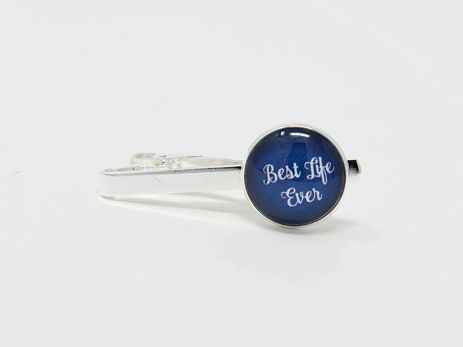 BEST LIFE EVER - Silver Tone Tie Bar Tie Clip for Men, Menswear, Men's Accessories, JW Gifts in blue Men's Accessories