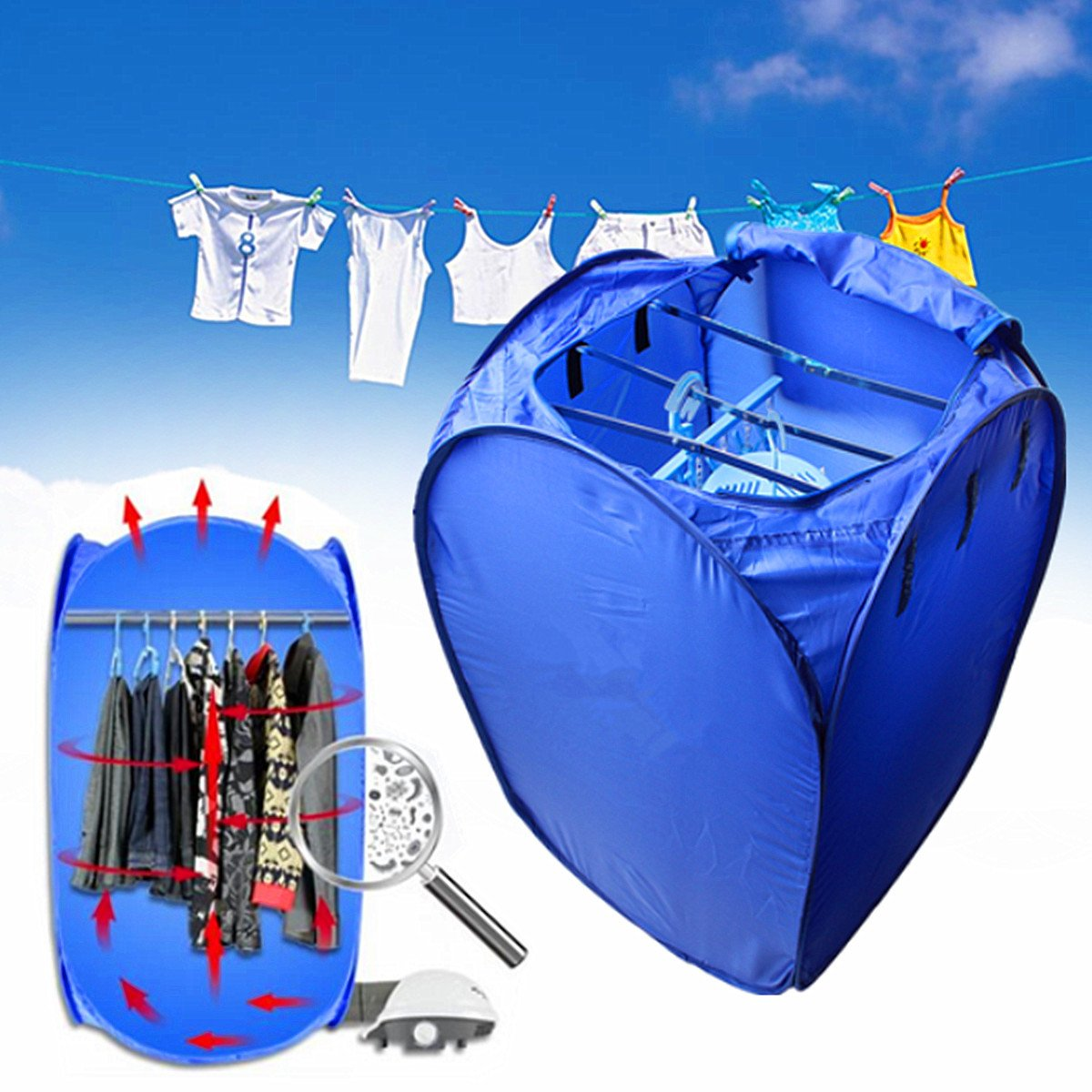 Inovey 800W Portable Electric Air Clothes Dryer Folding Fast Drying Machine Bag Box