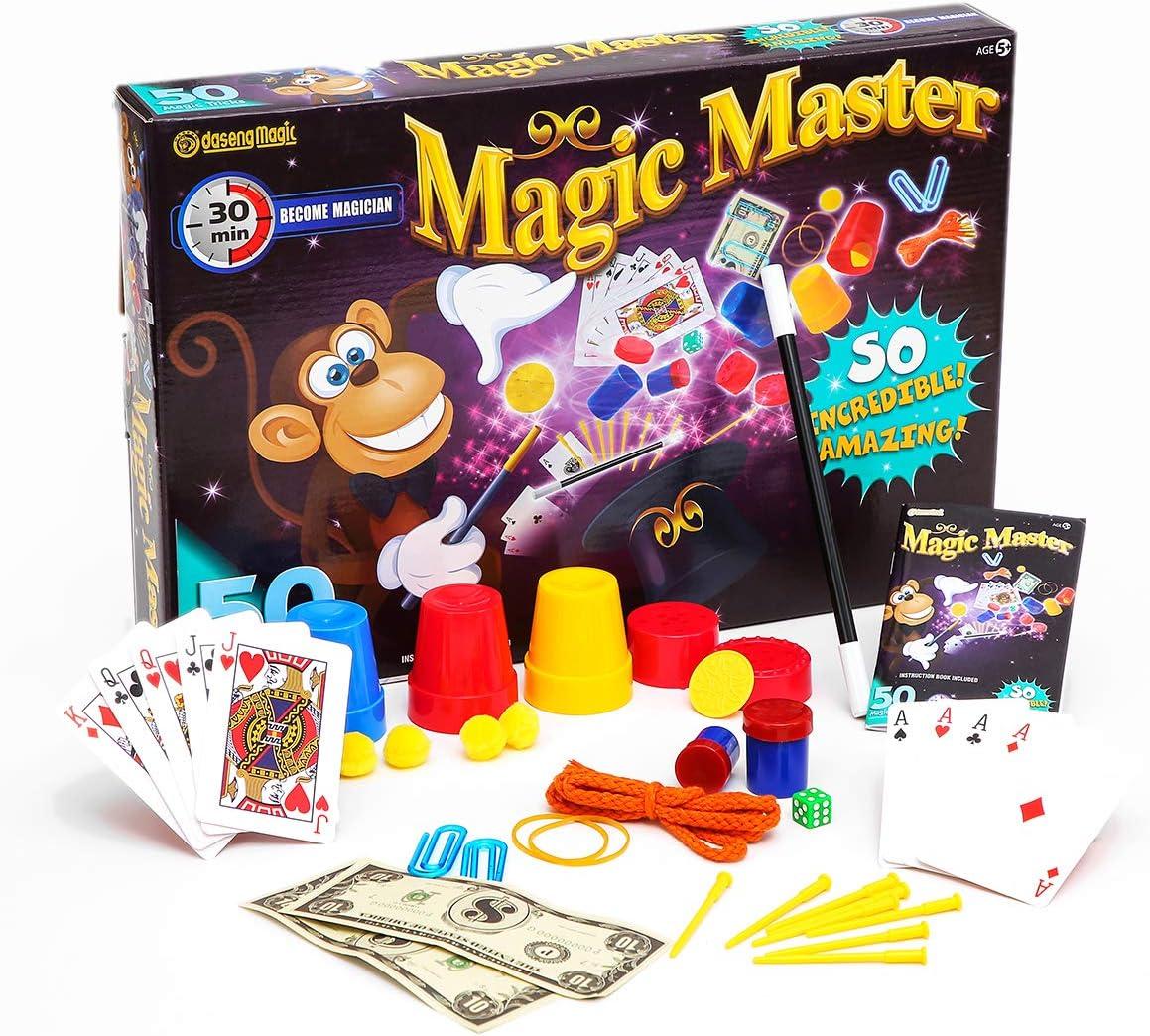 Bo/îte de magie pour enfants Kit d/ébutant avec baguette magique cylindre costume et bien plus encore Accessoires magiques pour anniversaire de mariage pour fille