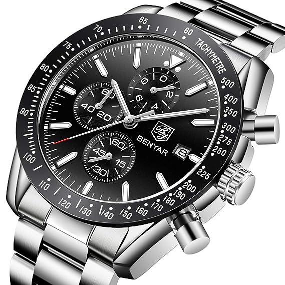 BENYAR Mens Relojes Cronógrafo Analógico Cuarzo Reloj Hombres Impermeable Deporte Reloj Pulsera de Acero Inoxidable Negro dial: Amazon.es: Relojes