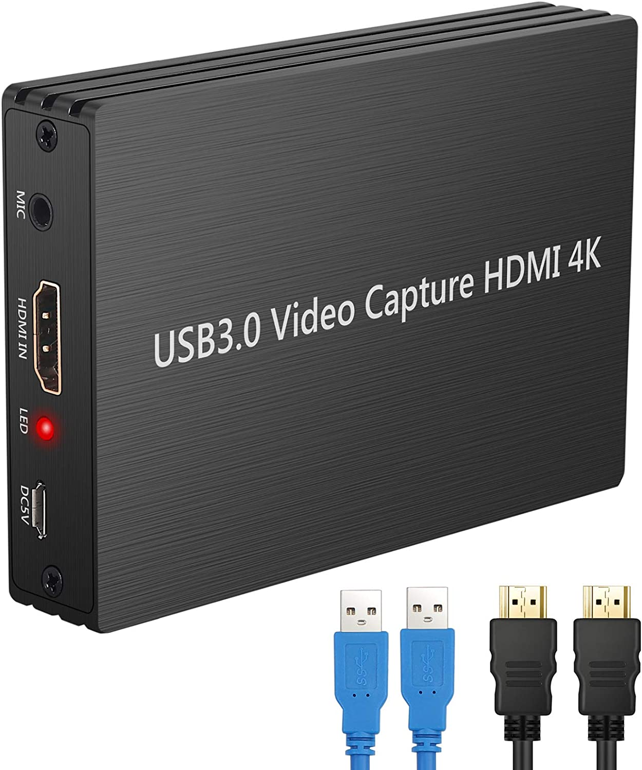 LiNKFOR HDMI Video Capture Card USB 3.0 Live Streaming Game Recorder Video Capture Device Video Recording Box with HDMI Loop-Out,Support 4K 1080P Mic Input and 3.5MM Audio for Windows Mac OS Black
