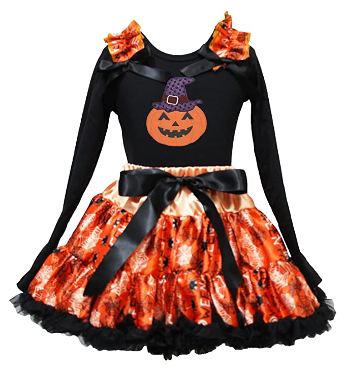 Halloween Black Baby Bodysuit Pink Skull Leg Warmer Girls Hat Outfit Set NB-18M