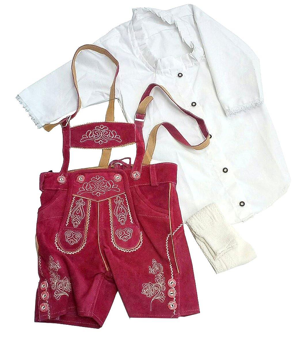 Isar-Trachten Kinder Lederhose kurz Trachtenlederhose Jungen mit Stegtr/äger und Stickerei 55810