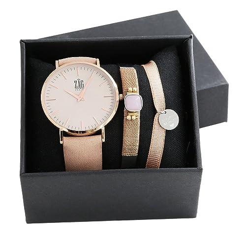 Coffret Reloj Mujer y Joyas Zag Beige