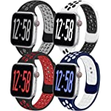 Geoumy 4 Pack Sport Band Compatible for Apple Watch Bands 38mm 40mm 42mm 44mm, Breathable Soft Silicone Band Replacement…