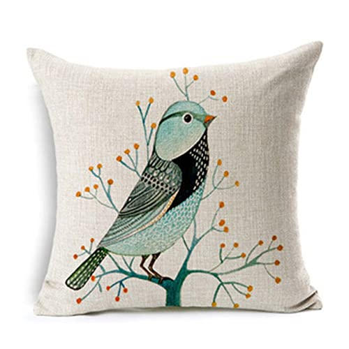 """Cotton Linen Square Throw Pillow Case Cushion Cover Decorative Natural Bed Pillow Protectors 18 """"X18 """" from Flatworld(Vivid Bird A)"""
