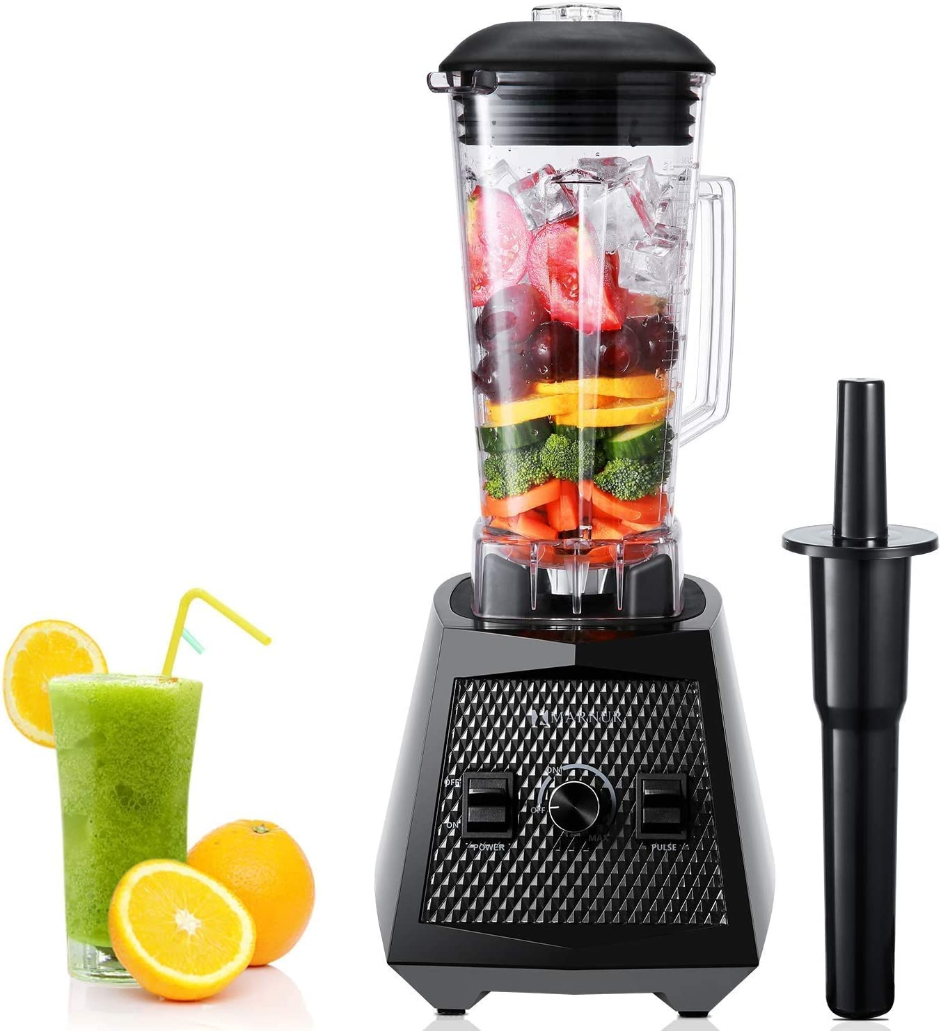 Smoothie Blenders, 1500W Smoothie Maker, 2L Commercial Blender, High Speed Jug Blender Machine 28000 RPM, Mufti-Function Ice Blender with Stepless Speed Adjustment, 8 Sharp Blades